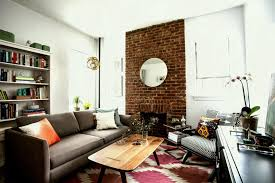 Plush Brick Wall Inside Small Studio Apartment Feat Eclectic