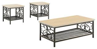 3 piece faux marble top table set with