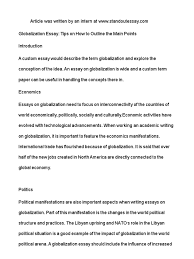 globalization essay tips on how to outline the main points globalization essay tips on how to outline the main points introduction