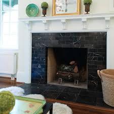 fireplace boasts black marble surround white mantel