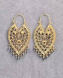 dream mullick garnet colored filigree earrings in 24 k gold vermeil these exotic filigree earrings have colored stone accents for pierced ears