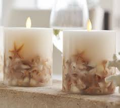 premium flicker flameless wax candle seashell
