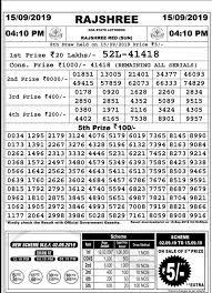Rajshree Result Chart Rajshree Lottery Sambad 15 9 2019 Today Result 11 55 Am 4 Pm