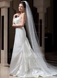 One Tier Cathedral Bridal Veils With Cut Edge 006034101