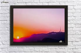 hollywood sign in california usa with summer sunset sky wall decor frame