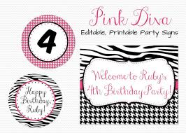 Zebra Print Party Decorations Party Signs Birthday Party Decor