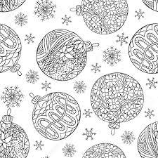 黒新年シームレスなパターンは描画のクリスマス ボールや雪を概説しますクリスマス ページ大人の塗り絵