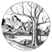 Mountain Path With Tree In Circle Original Art By Shelleynutma