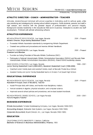 sample athletic resumes coach resume example sample