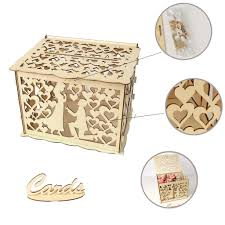 generic wedding card box with lock diy money wooden gift boxes for birthday party