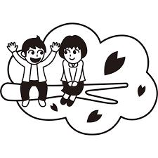 年中行事 デート桜の木モノクロ 無料イラストpowerpoint