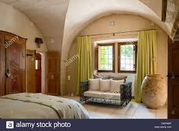 Lime Green Bedroom Curtains Lime Green Curtains And Large Stone Vase In Bedroom With Vaulted