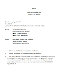 board of directors minutes of meeting template 15 board minutes template free sample example format download