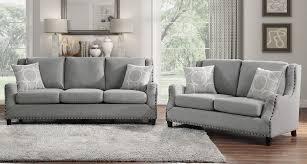 halton 2 pc gray fabric sofa set with
