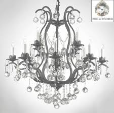 swarovski crystal trimmed chandelier wrought iron u pertaining to with