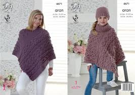 Knit Poncho Pattern Impressive King Cole 48 Knitting Pattern Womens Girls Ponchos And Hat In King