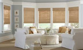 Living Room Window Designs Interior Bay Window Design Ideas With Matchstick Blinds Also