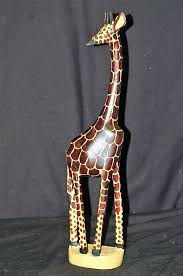 wooden giraffe decor old vintage hand carved figurine tribal art safari 3 foot tall statue de