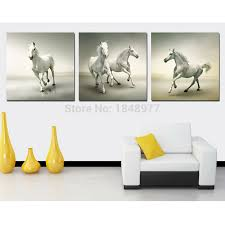 3 panel large cuadros running white horse paintings animal horses oil painting on canvas wall art for living room in painting calligraphy from home