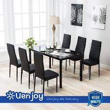 trendy design ideas 7 piece dining table set mecor 6 chairs black gl metal kitchen room