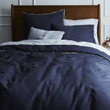 west elm linen cotton blend duvet cover full queen india ink navy blue new nwt