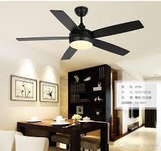 online cheap five leaf ceiling chandelier fan lights black lamps led restaurant bedroom door simple new model by luohuisi simple black chandelier74