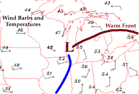 Finding Warm Fronts Using Wind Direction Shift From East