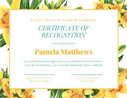 Yellow Floral Background Certificate Of Recognition Templates By Canva
