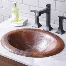 18 x 15 maestro lotus drop in bath sink tempered copper