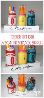 teacher gift ideas painted mason jar supplies holder