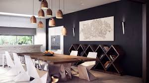 amazing dining room lighting with wooden bulb lamp over wooden table furnished with white chairs and completed with black and white wall paint color amazing dining room table