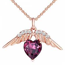 saint francis crystals purple rose gold heart angel wings swarovski elements necklace