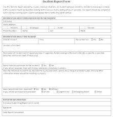 Incident Report Form Template General Excel To Construction