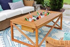 built in beverage cooler table built from 2x2 s
