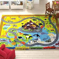 kids animal safari road map educational learning yellow blue indoor outdoor area rug reviews pirate children area rugs