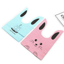 <b>50pcs</b>/<b>lot</b> pink and blue <b>cute rabbit</b> cookie bags plastic candy biscuit ...