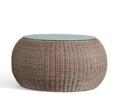 torrey all weather wicker outdoor coffee table pouf natural pottery barn