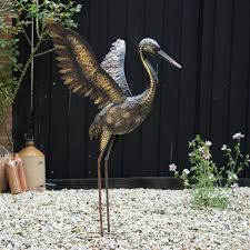 creekwood large bronze crane wings up