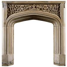 antique english carved portland stone fireplace mantel for