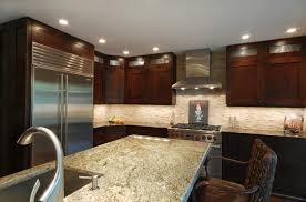 ... Kitchen Modern Kitchen Granite Countertop On Island And Brown Cabinetry  With Panel Appliances Also Stools ...