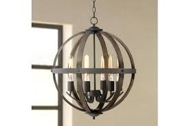 dark bronze and wood orb chandelier rustic