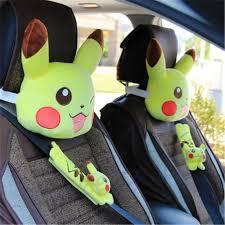 details about pokemon pikachu car seat head neck rest cushion pillow seat belt cover