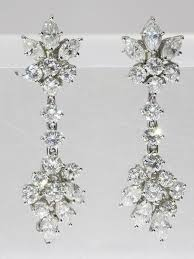 beautiful vintage fifties day and night diamond chandelier gold earrings
