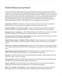 Video Log Template Machine Maintenance Log Manual Template Operation And