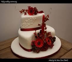 25515713 Ruby Wedding Anniversary Cake Autumnal