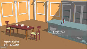 antique restaurant furniture. Brilliant Furniture Vintage Restaurant Interior With Cream Walls And Two Chairs  Vector Art In Antique Furniture A