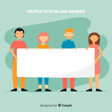Blank Banner People Holding Blank Banner Background Vector Free Download