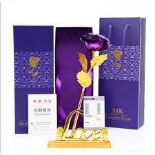 Quà Tặng Sinh Nhật Vợ Ý Nghĩa - Hoa Hồng Mạ Vàng 24k Màu Tím Đế Chữ Love Có Đèn  Led Phát Sáng (Phiên Bản Giới Hạn) - Quà tặng trang trí