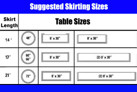 table skirting size chart suggested sizes
