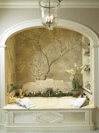 faux painting ideas for bathrooms with oval built in bathtub wall shelf corner decorative plant under glass bulb chandelier